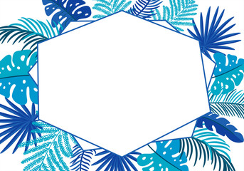 Summer Vector floral abstract leaves frame tropical palm with place for text. color design elements for print, greeting card. isolated illustration on white background