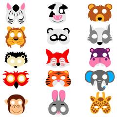 Set of animals masks isolated on white background. Vector illustration