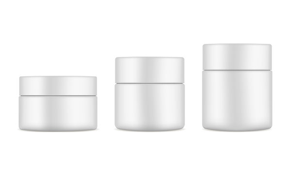 Set of plastic cosmetic jars mockups isolated on white background. Cosmetics packaging 50ml, 100ml, 150ml. Vector illustration