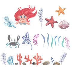Watercolor little mermaid with pink hair and green fish tail lies on the sand on the seabed.