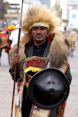 An Ethiopian man poses dressed in traditional costumes during the 123rd anniversary celebration of the battle of Adwa where the Ethiopian forces defeated an invading Italian forces, in Addis Ababa