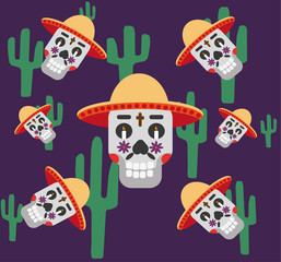 Mexico pattern with skull in hat, cactus, cross and candles . Day of the dead sugar skull banner for mexican celebration. Vector Illustration
