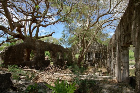 Wide shot of the ruins of the old Japanese Jail  and archeological district on Saipan, Northern Mariana Islands, listed in the U.S. National Register of Historic Places.