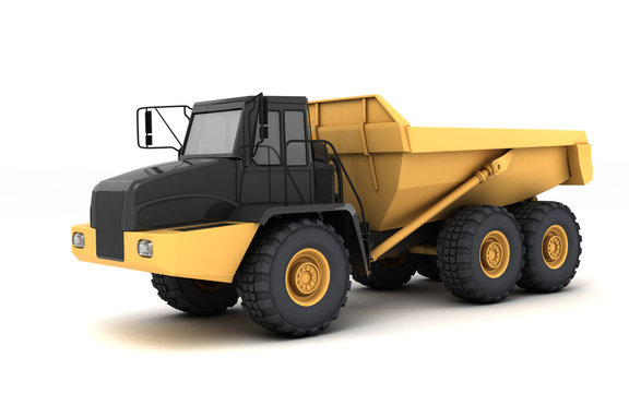 Powerful articulated dumper truck isolated on white background. Front side view. Perspective. Eye level. Left side.