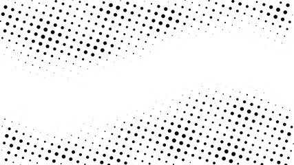 Halftone gradient pattern. Abstract halftone dots background. Monochrome dots pattern. Pop Art, Comic small dots. Wavy twisted strip. Banner with space. Design for presentation, report, flyer, card
