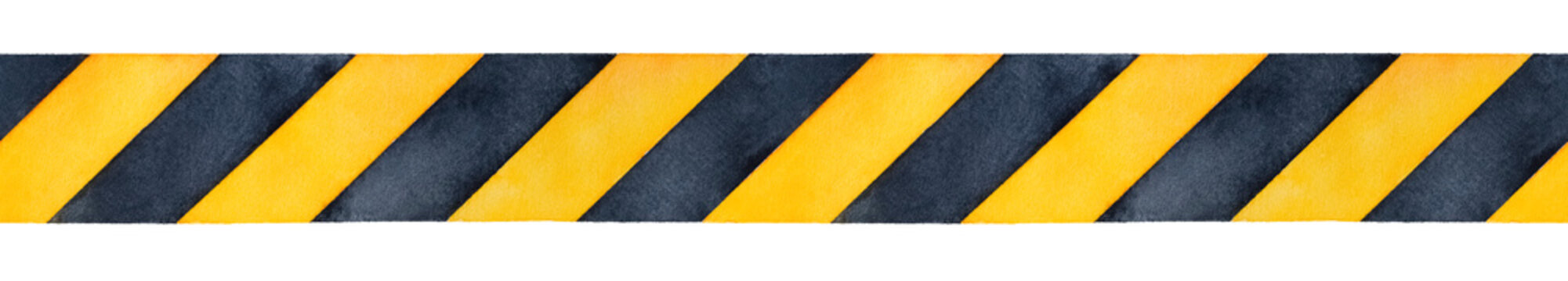 Black and yellow watercolor stripes tape. Bright contrast colours to warn or catch attention. Handdrawn watercolour sketchy gradient drawing on white, isolated clip art element for design decoration.