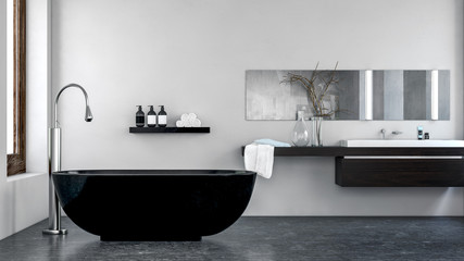 interior of modern bathroom with black bathtub