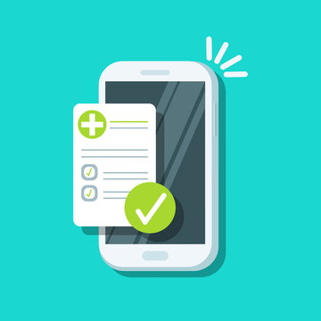 Received email sms notification. New message on the smartphone screen. Medical papers, insurance, receipt. Doctor documents paperwork plan. White phone isolated on background. Vector flat illustration