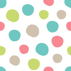 Geometrical background with uneven circles. Abstract round seamless pattern. Hand drawn colorful dots pattern on white background. Vector illustration.