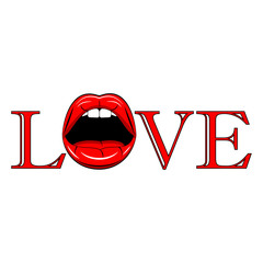 Red sexy lips isolated on background. Open mouth with tongue, teeth. Love concept. Happy Valentine day. Vector comic design