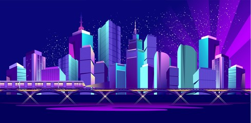 Vector banner night city
