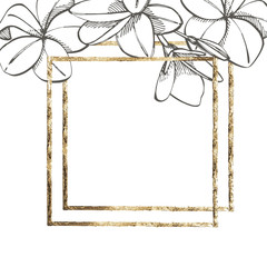 Summer tropical leaves design with gold frame. Floral background illustration. Invitation or card design with jungle leaves.