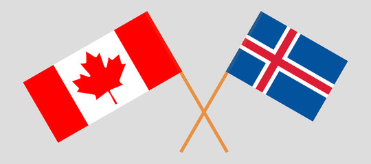 Iceland and Canada. The Icelandic and Canadian flags. Official colors. Correct proportion. Vector