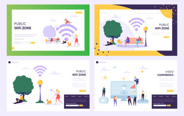 Public WiFi Hotspot Zone Concept Landing Page. Male and Female Character Use Internet in Park. People with Laptop or Smartphone Website or Web Page. Video Conference Flat Cartoon Vector Illustration