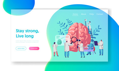 Laboratory Scientist Group Study Human Brain and Psychology Landing Page. Medical Research Microscope. Head Tomography Diagnostics Hemisphere Website or Web Page. Flat Cartoon Vector Illustration