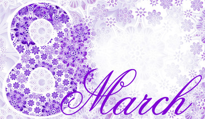 Postcard March 8. violet-white lace background. Women's holiday. Place for text. Greeting card.