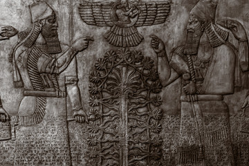 Bas-reliefs with inscriptions of the ancient Sumerians Wall mural