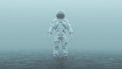 Astronaut in an White Advanced Crew Escape Suit with Black Visor Standing in Water in a Foggy Overcast Environment 3d illustration