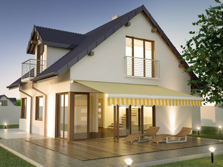 House with terrace in the evening