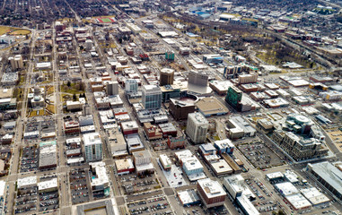 Overhead unique view of Boise Idaho in the winter showing all of the tall buildings