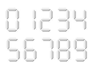 Grey 3D-like digital numbers. Seven-segment display is used in calculators, digital clocks or electronic meters. Vector illustration