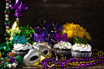 Mardi Gras Cupcakes with Beads and Mask
