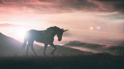 Unicorn silhouette at sunset