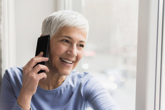 Mature woman talking on her phone