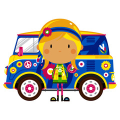 Recess Fitting Cars Cartoon Sixties Flower Power Hippie and Retro Van