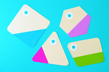 geometric paper tags on blue background horizontal template