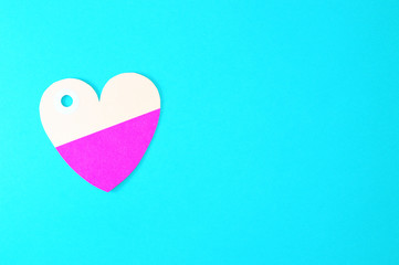 heart paper tag on blue background horizontal template