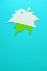 leaf paper tag on blue background vertical template