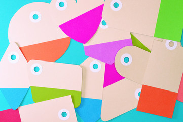 bunch of paper tags on blue background horizontal template