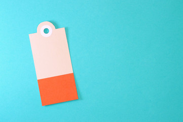 decorated rectangle paper tag on blue background horizontal template