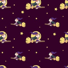 Vector seamless pattern with cute little Halloween witch