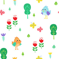 Cute children's seamless pattern. Funny birds among nature - trees, leaves, flowers and butterflies. Ornament is great for prints, textiles, covers, gift wrappers, backdrops.