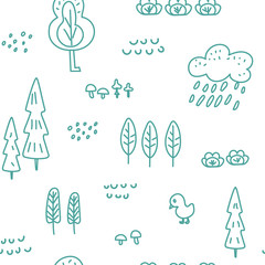 Cute children's seamless pattern with forest theme. Cool bright ornament is great for prints, textiles, covers, gift wrappers, backdrops. Vector illustration.