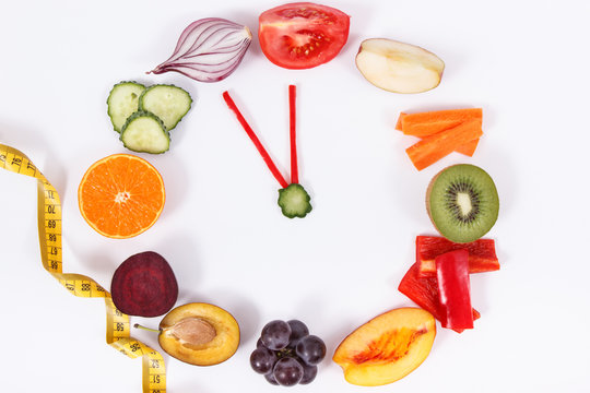 Fresh fruits with vegetables. Healthy lifestyles and new year resolutions concept