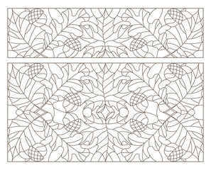 Set contour illustrations of stained glass with leaves of maple, oak, aspen and acorns, dark contours on a white background