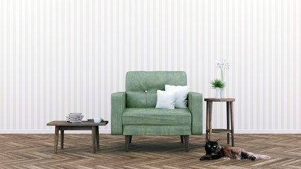 Living room with Green Leather sofa, Minimal Rustic, 3D Rendering