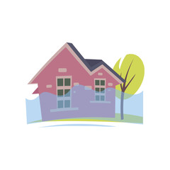 Flooding pink house with rising water up to window isolated on white background