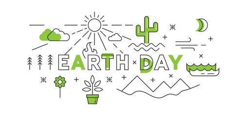 Happy Earth Day Flat Line Design With Green Color. world environment day concept Illustration vector. the young generation saves the world