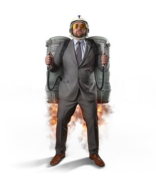 Jetpack businessman launching