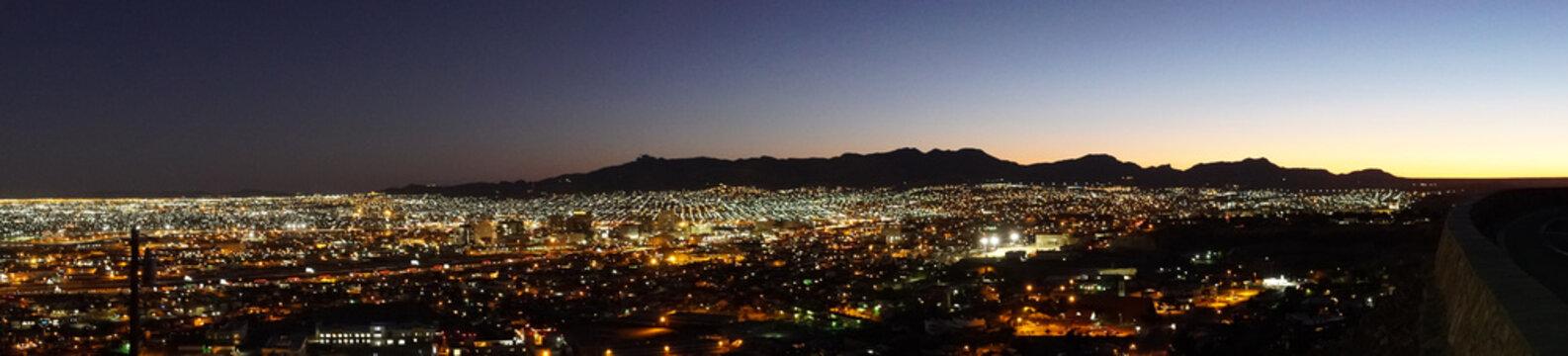Panorama of City of El Paso in Texas Overlooking Neighborhoods and Mountain in Distance