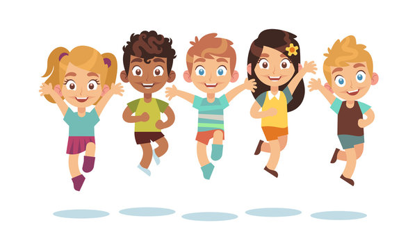 Jumping kids. Cartoon children playing and jump isolated happy active cute surprised kid vector characters