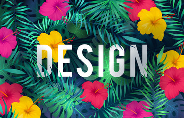Bright tropical background. Exotic pattern jungle plants palm leaves flower rainforest hawaiian nature green art card