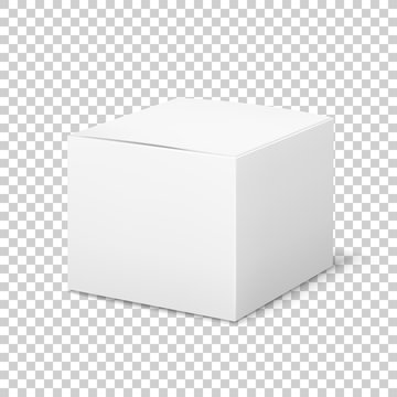 Empty white box. Cardboard cubic cosmetic box blank package with shadows medicine product packaging vector template