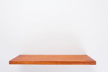 wooden shelf at white background texture