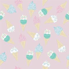 Muster aus Eiswaffeln in Pastellfarben. Vektor Datei eps 10
