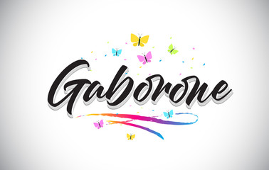 Gaborone Handwritten Vector Word Text with Butterflies and Colorful Swoosh.